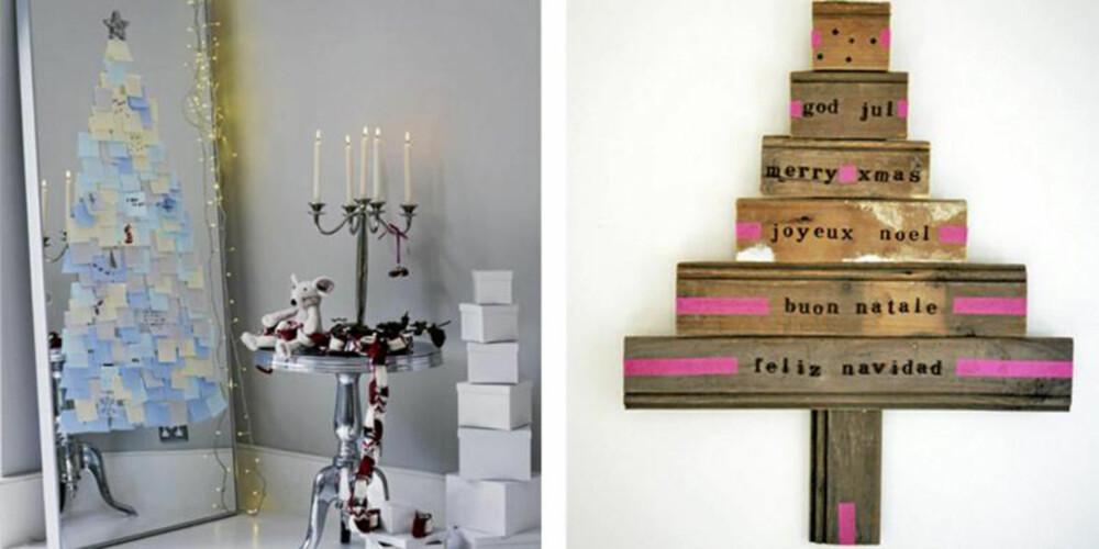 """KREATIVE TRÆR: Hvorfor ikke lime """"juletreet"""" på speilet eller snekre det rett på veggen?"""