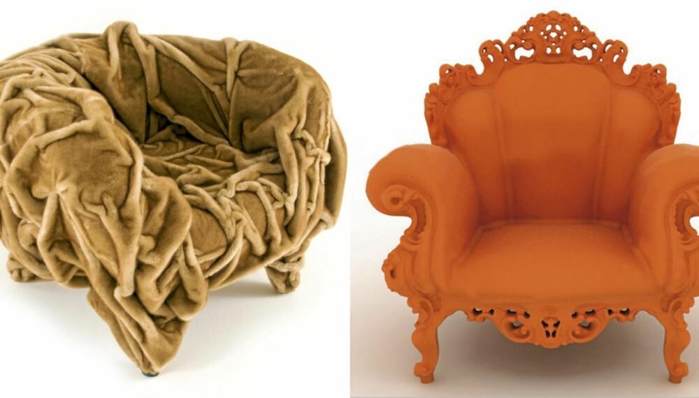 SIGNALOBJEKTER: Grinza fra Edra og Proust Chair fra Magis ble begge lansert på møbelmessen i Milano i 2011.