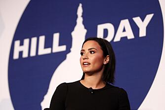 SUNN, IKKE SYLTYNN: Etter mange år med spiseforstyrrelser fokuserer nå Demi Lovato på å spise og trene for å være sunn - ikke tynn. Her fra Mental Health Day i Washington, D.C.