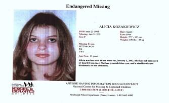 KIDNAPPET: Alicia Kozakiewicz forsvant fra familiens hus første nyttårsdag og ble reddet på ettermiddagen 4. januar.