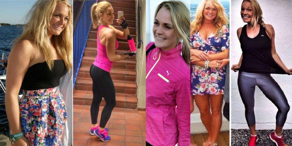FØR OG NÅ: Catrine så strålende vakker ut også i 2011, men bestemte seg for å gjøre kroppen sterkere og strammere gjennom tung styrketrening. Kroppen ser vesentlig annerledes ut i dag, uten at vekten har minket betydelig.