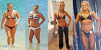 FØR OG ETTER: Her er Tonje i 2009 før hun la om livsstilen sin, samt i 2013 etter at hun startet med fitnesstrening.
