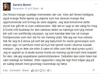 SANDRAS RESPONS: Sandra Borch la ut denne facebookmeldingen på sin åpne politikerprofil. FOTO: Skjermdump Facebook