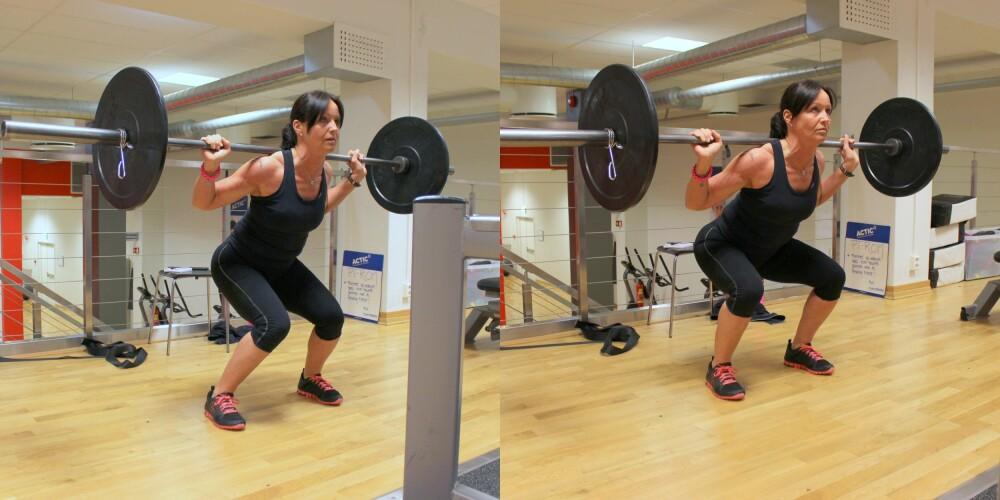 KNEBØY: Bildet til venstre viser feil teknikk, mens bildet til høyre er riktig. Det er fort gjort at knærne siger inn mot midten, noe som kan være skadelig. FOTO: Hanna Sundquist
