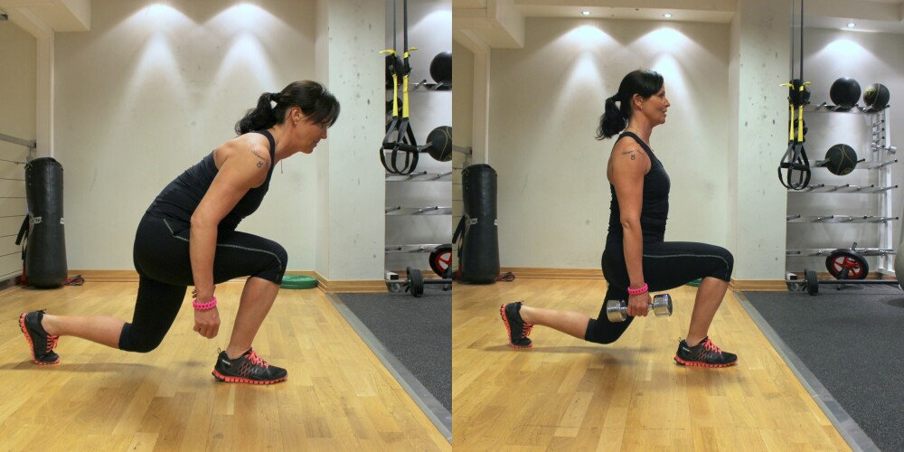 UTFALL: Det venstre bildet viser feil teknikk, mens bildet til høyre er riktig. Pass på å være rett i overkroppen, og at det fremste kneet ikke går over tærne. FOTO: Hanna Sundquist