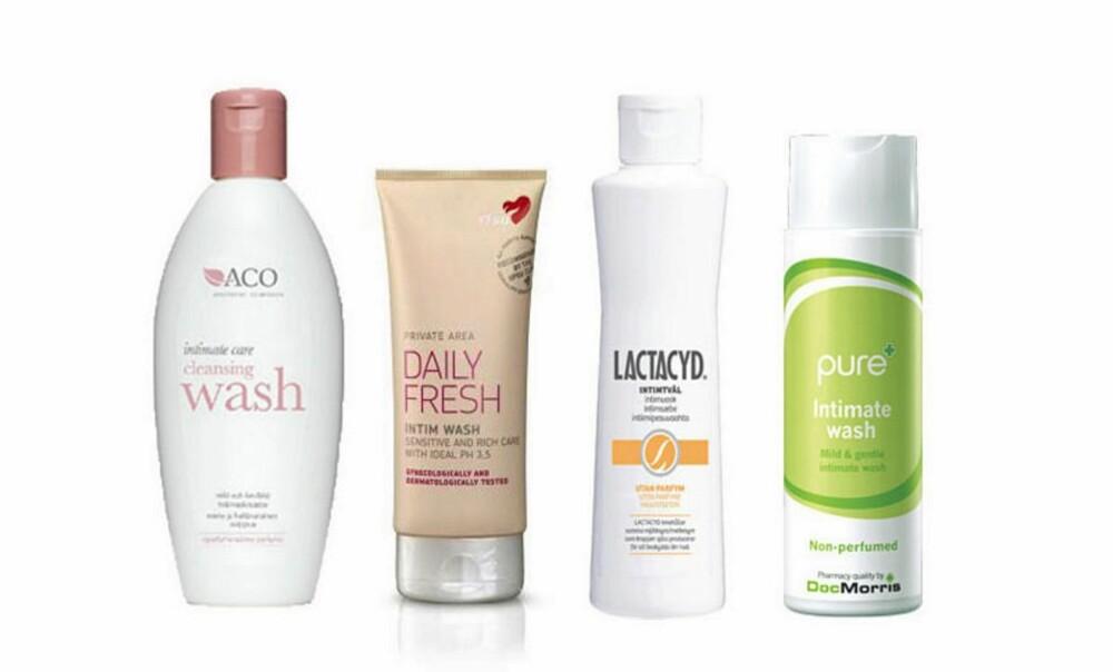 VASK: Aco Intimate Care Clean Wash up, 71 kr, RFSU Intimvask, 38 kr, Lactacyd Intimvask, 46 kr, Pure Intimate wash, 49 kr.