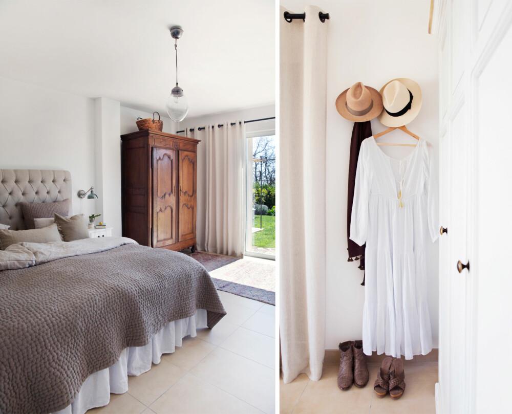SOVEROM: På hovedsoverommet henger nødvendige rekvisitter for svale dager i Provence. Akkurat slik vil man kle seg her! Den vakkert oppredde sengen er en symfoni i duse nyanser. Sengegavlen er fra Artwood, mens lampen er fra Home & Cottage. Herfra kan man gå rett ut i hagen. Den gamle skapet er kjøpt i området, og skjuler tv-en.