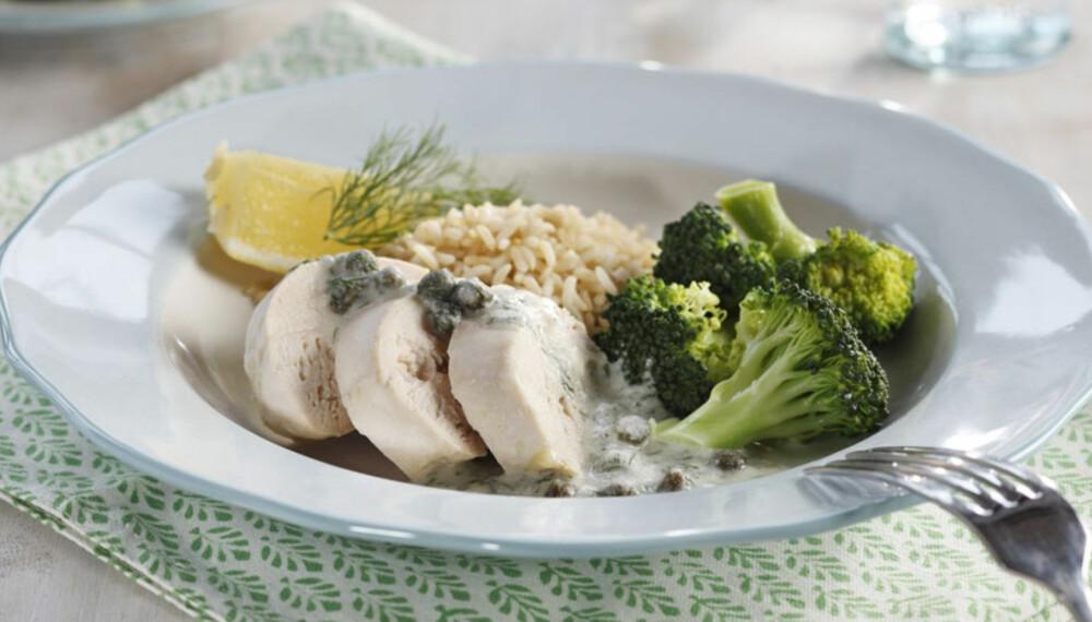 Dagens rett:         Kyllingfilet med dill- og kaperssaus