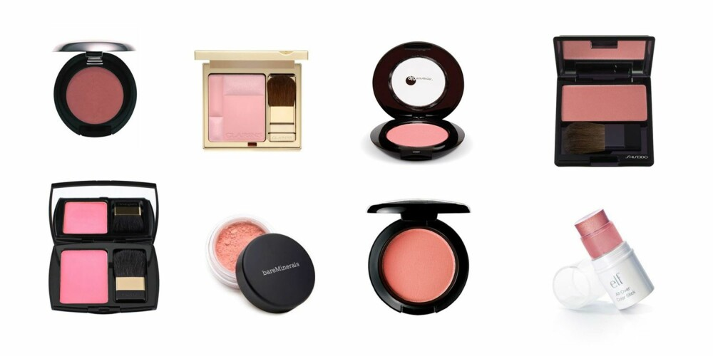 I ALLE TONER: Bodyshop Cheek Colour, 139,-, Clarins Blush Prodige i Lovely Rose, 355,-, Glominerals Globlush i Papaya, 255,-, Shiseido The Makeup Luminzing Satin Face Color i Petal, 339,-, Lancôme Blush Subtil i Cosmopolitan Pink, 379,-, Bareminerals Blush i Laughter, 305,-, MAC Powder Blush i Sincere, 205,-, Elf All Over Cover Stick i Pink Lemonade, 14,15.