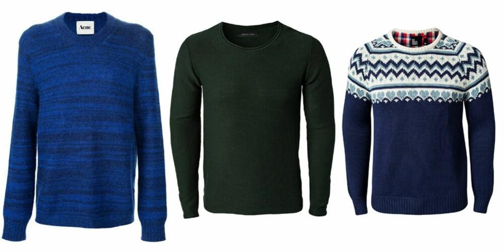 STRIKK: Fra venstre: Acne, 1495 kr, Selected Homme,499 kr, Red Collar Project, 1095 kr.