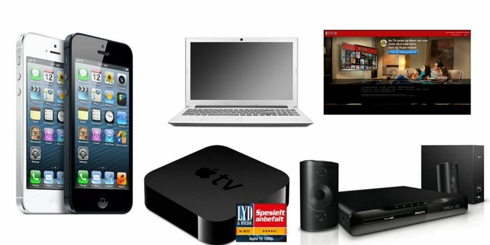 DUPEDITTER: Fra venstre, iPhone 5, ca.6000 kr, Acer Aspire V5-531 laptop, 3999 kr, Apple TV mediaspiller, 749 kr, Netflix-abonnement, 79 kr pr.mnd, Philips HTS3261 Hjemmekino, 1999 kr.