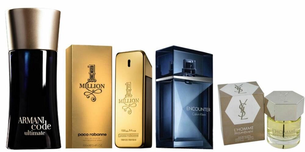 DUFT: Fra venstre: Armani Code Ultimate,665 kr, Paco Rabanne 1 Million, 500 kr, Calvin Klein Encounter,545 kr, Yves Saint Laurent,499 kr.