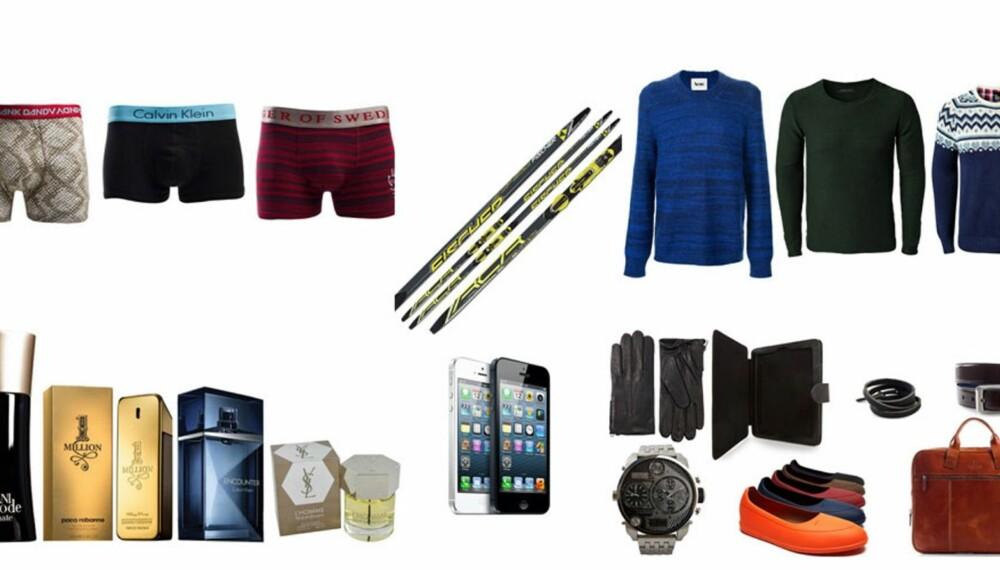 FLERE ALTERNATIVER: Enten du velger klær, parfyme, ski eller ulikt tilbehør. Se produktene lenger ned i saken!