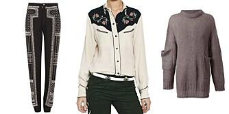 NØKKELTRENDER: Bukse ala Balmain, westernskjorte fra Isabel Marant, og stor strikkegenser fra Acne.