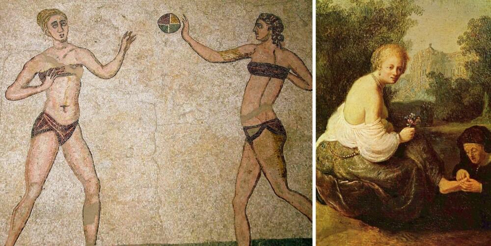 KVINNEKROPPER: Til venstre er mosaikker fra tidlig 300-tallet. Maleriet til høyre er sannsynligvis malt av Rembrandt. Motivet er David som ser Bathseba bade.