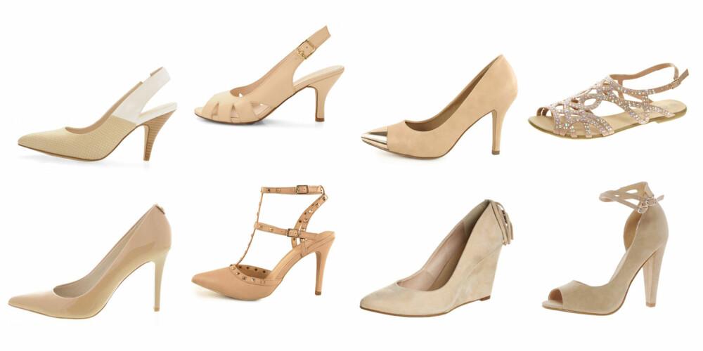 NUDE: (F.v.) Medium hæl fra Bianco (599 kr), åpen tå fra Bianco (499 kr), spiss variant fra Stockholm Design Group/ Nelly.com (499 kr), lav sandal fra New Look/Asos.com (230 kr), klassisk pump fra Michael Kors/Brandos (1099 kr), flere remmer fra Nelly.com (399 kr), åpen tå fra Asos.com (430 kr).