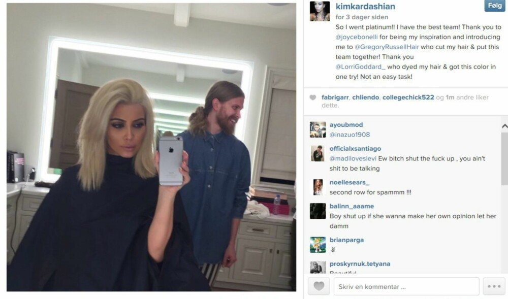 AVSLØRTE HÅRFARGEN: Kardashian viste sin nye hårfarge for første gang på Instagram.