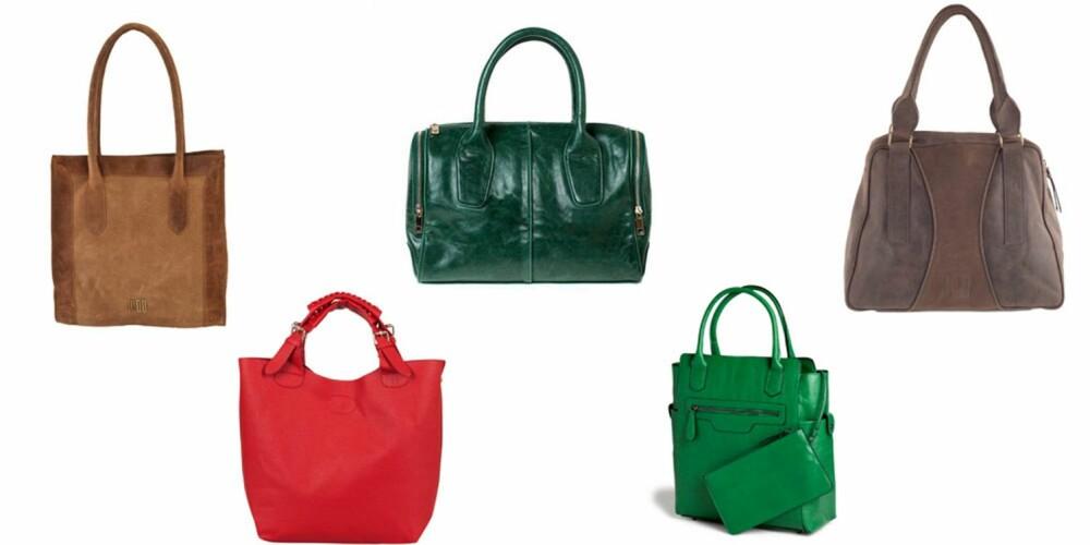 VESKE: Shoppingveske fra Moo, 3800 kr, rød veske fra Bik Bok, 399 kr, grønn håndveske fra Donna Donna, 399 kr, grønn shoppingbag fra Lindex, 299 kr, nøttebrun veske fra Moo, 4500 kr.