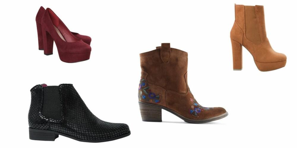 SKO: Chelsea boots fra Bianco, 999 kr, burgunder pumps fra Bik Bok, 399 kr, westernboots fra Aldo, 1399 kr, ankelboots fra Bik Bok, 599 kr.