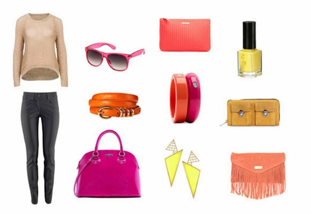 FARGEFEST: Bukse fra H&M (299 kr), genser fra BikBok (399 kr), rosa veske fra Mango (499 kr), belte fra Asos.com (ca.350 kr), solbriller fra H&M (49 kr), gule øredobber fra Asos.com (ca.90 kr), armbånd fra Mango (89 kr). veske fra Mango (129 kr), gul neglelakk fra Gina Tricot (39 kr), gul veske fra Nelly.com (499 kr), veske fra Asos.com (ca. 280 kr).
