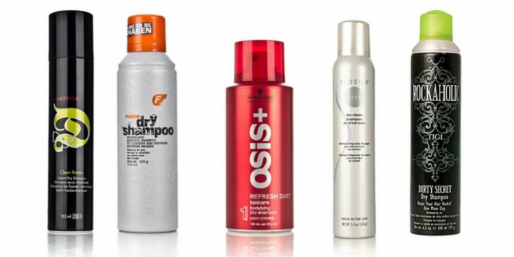 TØRRSJAMPO: Genialt produkt som gjør at du slipper å vaske håret altfor ofte. Fra venstre: Matrix Design Pulse Clean Remix Dry Shampoo,119kr, Fudge Dry Shampoo,129 kr, Osis + Refresh Dust Tørrshampoo, 135 kr, Biosilk Dry Clean Shampoo, 139 kr, Tigi Rockaholic Dirty Secret Dry Shampoo, 139 kr.