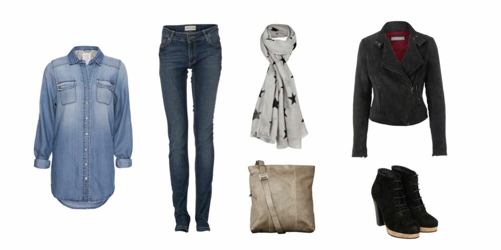 JOBB: Skjorte fra Moods of Norway (899 kr), jeans fra Samsøe Samsøe(1000 kr), veske fra Maani by Adax (1299 kr), skjerf fra Bik Bok (199 kr), skinnjakke fra Samsøe Samsøe (3900 kr), ankelboots fra Samsøe Samsøe (1800 kr).