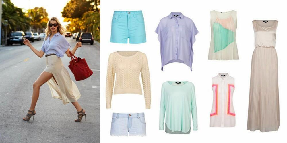 PASTELLER: Turkis shorts (199 kr), genser (349 kr), denimshorts (299 kr), mintfarget genser (199 kr), skjorte (299 kr), hvit t-skjorte (299 kr), hvit og korallfarget topp (349 kr), lang kjole (399 kr).