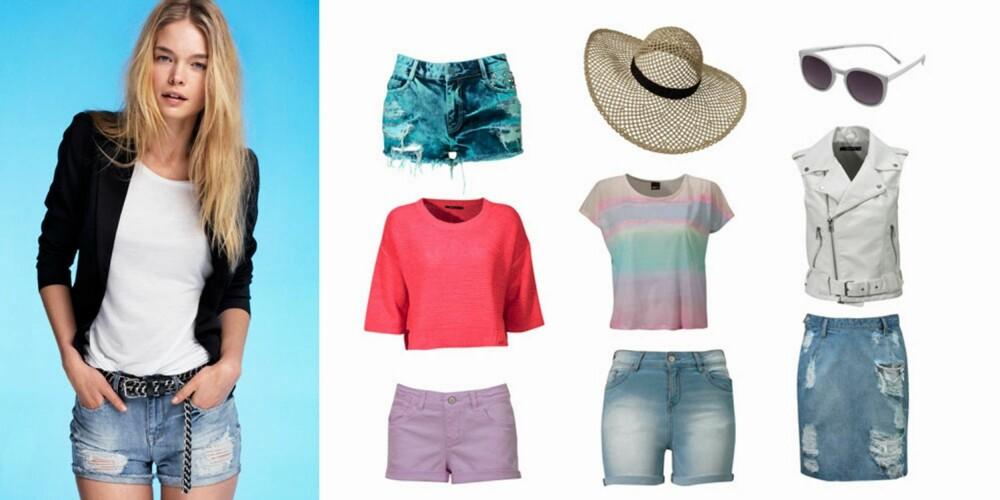ROCKA OG FEMININT: Vasket denimshorts (349 Kr), kort korallfarget genser (199 kr), denimshorts (149 kr), flerfarget t-skjorte (149 kr), lang denim-shorts (199 kr), stråhatt (129 kr), denimskjørt (349 kr), hvit skinnvest (499), hvite solbriller (59 kr).