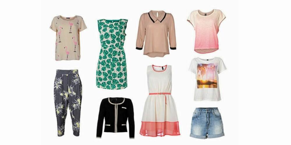 PRINTFEST: Bukse med print (229 kr), topp med print (199 kr), kjole med bladprint (299 kr), beige bluse (229 kr), kjole (259 kr), cardigan (299 kr), rosa t-skjorte (179 kr), t-skjorte med print (159 kr), denimshorts (299 kr).