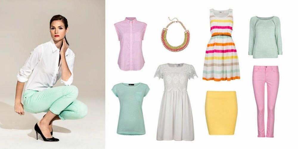 SUKKERTØY: Mintfarget topp (129 kr), skjortetopp (199 kr), kjole (399 kr), kjede (99kr), skjørt (99 kr), flerfarget kjole (299 kr), bukse (299 kr), genser (199 kr).