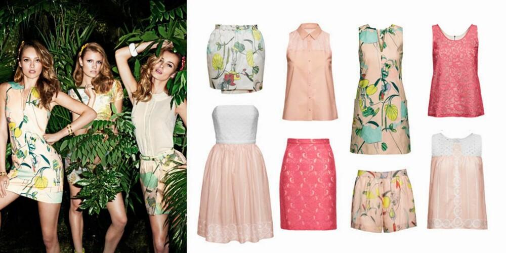 GOD SAMVITTIGHET: Disse plaggene er flotte både for deg og naturen. Mønstret skjørt (99 kr), kjole i rosa og hvitt (199 kr), bluse (99 kr), rosa skjørt (149 kr), mønstret kjole (149 kr), shorts (249 kr), rosa og hvit topp (149 kr), mørk rosa topp (149 kr).