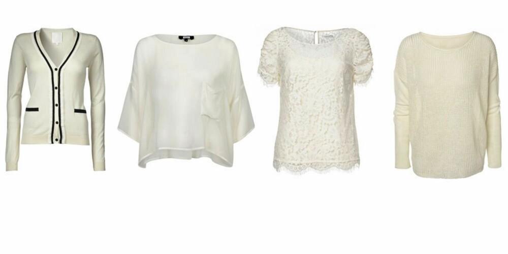 TOPP: Topper frra venstre: Inwear, 899 kr, Bik Bok, 149 kr, MQ, 499 kr, MQ, 499 kr.
