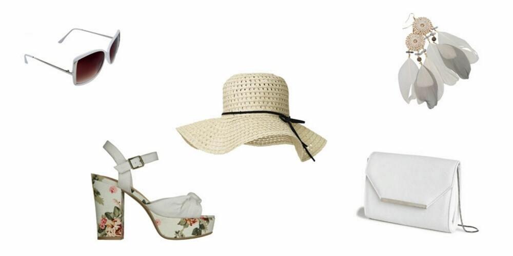 TILBEHØR: Solbriller fra Bik Bok, 79 kr, sko fra Din Sko, 399 kr, hatt fra MQ, 199 kr, veske fra Lindex, 199 kr, øreringer fra Bik Bok, 99 kr.