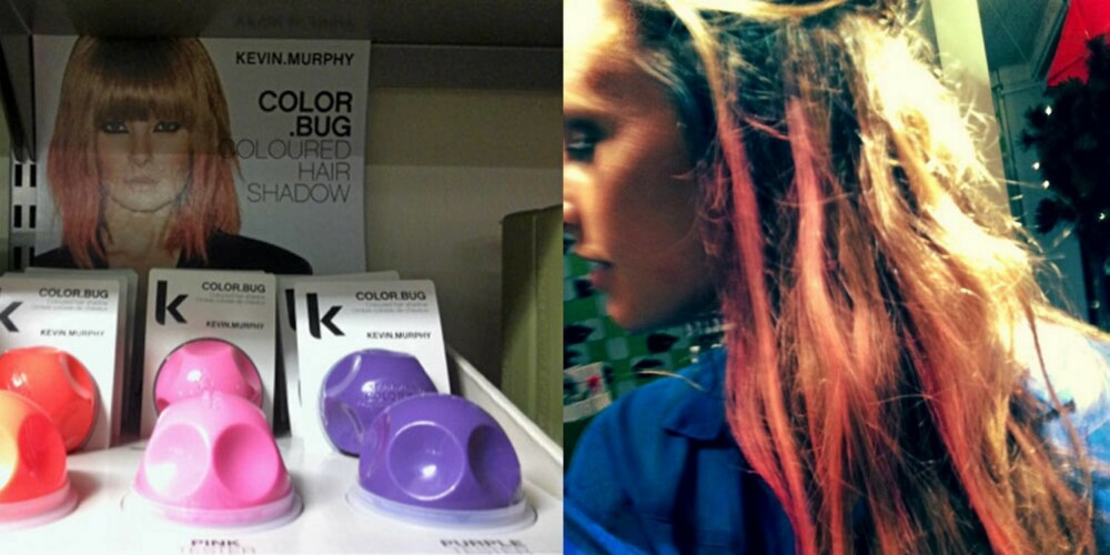 PASTELLSTRIPER: Her tester frisøren selv ut hvordan man kan bruke colorbugs i tuppene eller som striper i hele håret.