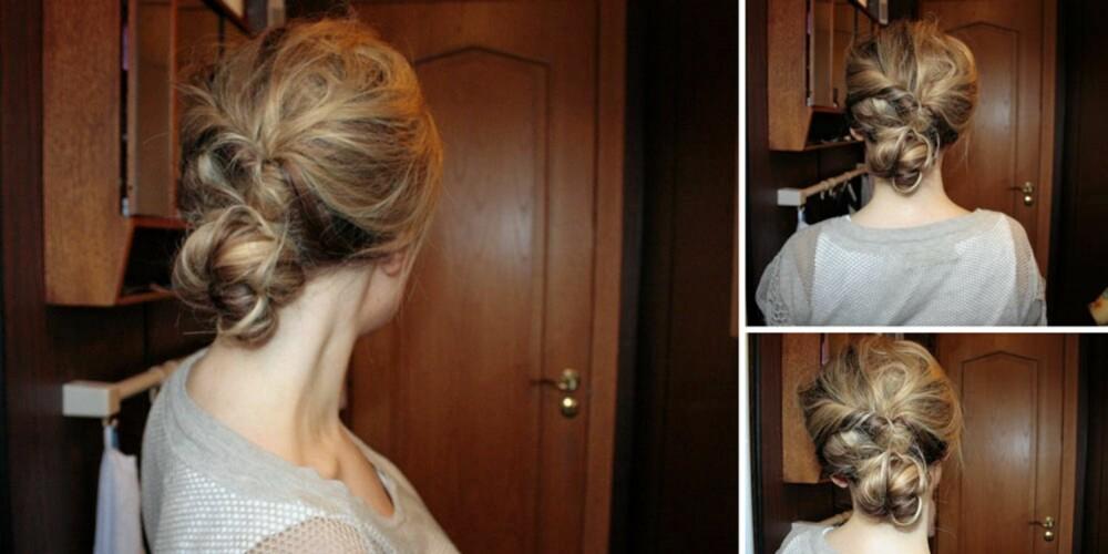 STYLING: Frisøren er også glad i å sette opp håret sitt, her har hun gjort det med en klassisk knute som hun også viser på bloggen sin.