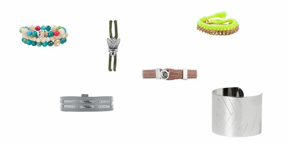 ARM-CANDY: Fyll begge håndleddene med en god miks armbånd. Fra venstre: Bik Bok, 99 kr, Dyrberg/Kern, 479 kr, Dyrberg/Kern, 279 kr, Dyrberg/Kern, 549 kr, Bik Bok, 99 kr, MQ, 129 kr.