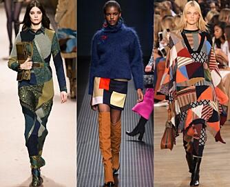 PÅ CATWALKEN: Flere motehus og designere viste frem patchwork-trenden på catwalken, fra venstre Etro, MSGM, Chloé