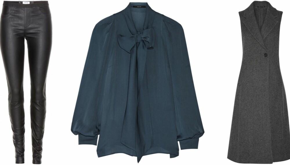 STYLISTENES TOPP TRE: Denne sesongen satser stylistene på blant anent skinnbukser, bluse med knyting i halsen og plagg i grått.