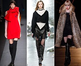 PÅ CATWALKEN: MSGM, Rodarte og Saint Laurent var blant motehusene som sendte modellene nedover catwalken i lårhøye støvletter.