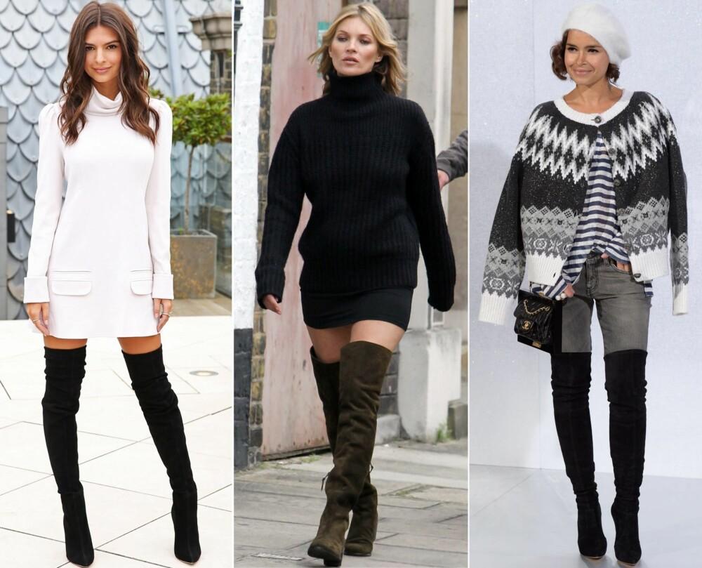 RIKTIG STYLING: Modell Emily Ratajkowski kombinerer støvlettene med en langermet kjole. Supermodellen Kate Moss bruker en oversized strikkegenser sammen med skjørt og lårhøye støvletter. It- girl Miroslava Duma går for jeans og en stikkejakke over skuldrene.