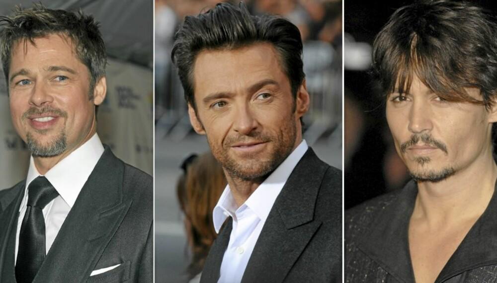 SEXY: Brad Pitt, Hugh Jackman og Johnny Depp.
