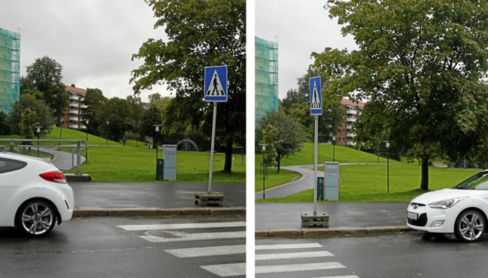 RIKTIG OG FEIL: Bilen til høyre på bildet har parkert ulovlig. Bilen til venstre står imidlertid helt lovlig.