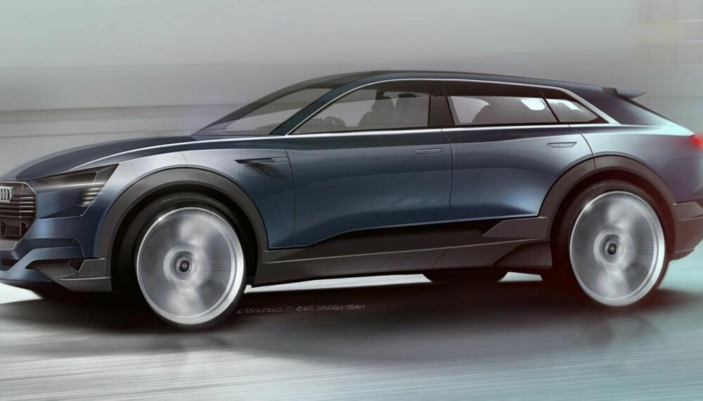 AUDI ELBIL: Audis første elektriske bil blir en SUV som etter alle solemerker skal hete Q6. ILLUSTRASJON: Audi