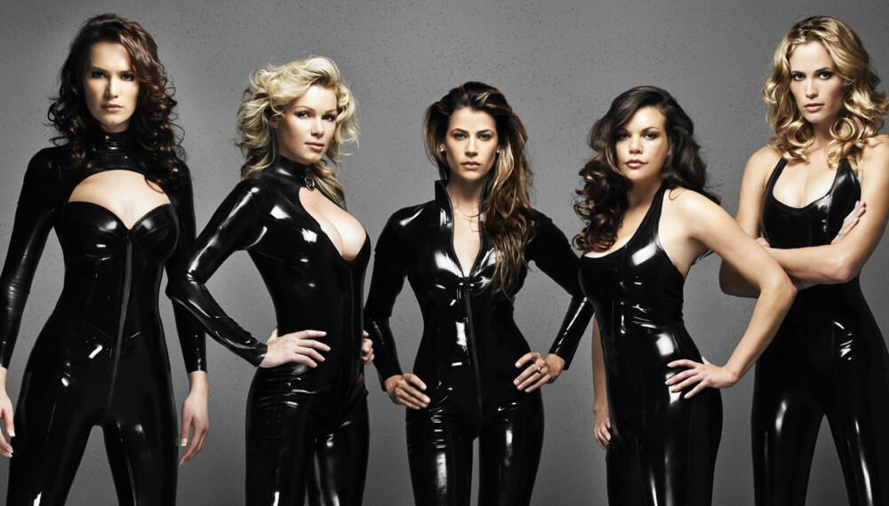 Tidligere Lara Croft-modeller. Fra venstre: Lucy Clarkson, Nell McAndrew, Lara Weller, Jill De Jong og Karima Adebibe.