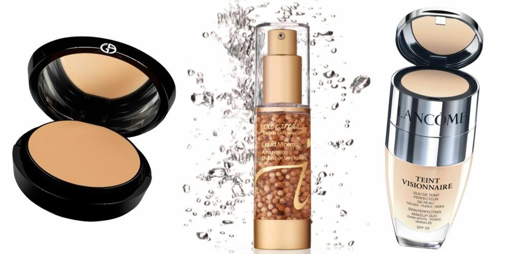 NORMAL HUD: Fra venstre: Giorgio Armani Maestro fusion makeup compact, SPF 29, kr 455. Jane Iredale liquid minerals gir et naturlig resultat og pleie til huden, kr 615. Lancôme Teint visionnaire skin perfecting makeup duo, kr 440.