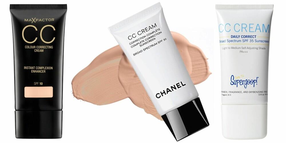 CC-KREM: Fra venstre: Max Factor CC instant complexion enhancer, SPF 10, kr 159. Chanel CC complete correction, SPF 30, gir en glødende og naturlig dekket hud. Kr 585. Supergoop CC cream daily correct, SPF 35, kr 260.