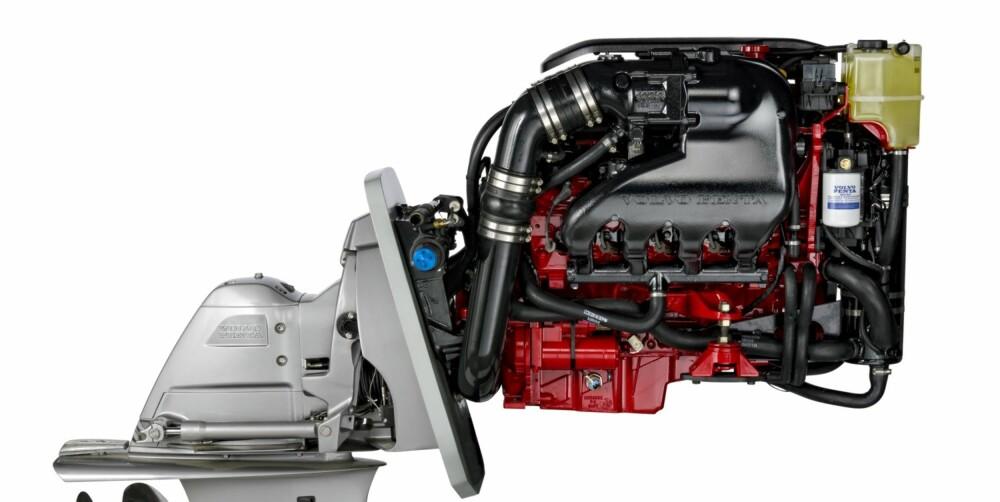 KRAFTPAKKE: Den nye 430 hesters V8-motoren bruker en 6-liters GM-blokk og går langt penere enn de gamle V8-motorene. FOTO: Volvo Penta