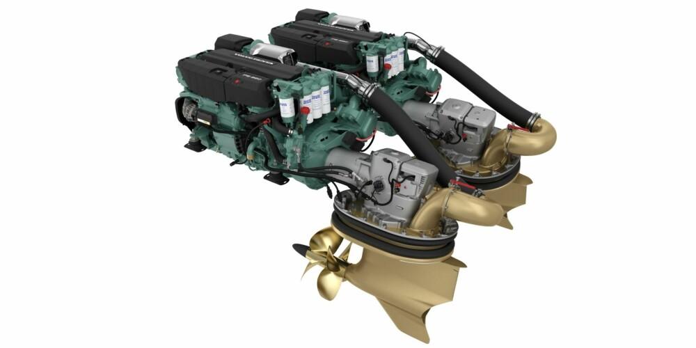 IMPONERENDE: IPS950 systemet ser imponerende ut, og gjør solid inntrykk når du kjører med tilsammen 1450 hk og dreiemoment på 4880 Nm. FOTO: Volvo Penta