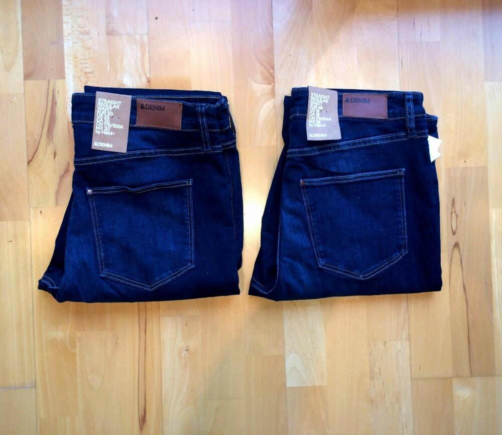VI TESTET: For å sjekke saltbad-trikset, kjøpte vi to like og nye bukser fra et rimelig merke, som da ofte har indigofarger som ikke er fiksert til stoffet.