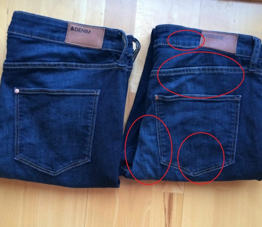 ETTER: Det er lett å se hvor mye mer slitt test-jeans B er enn A som ble lagt i saltbad før vask.